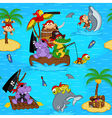 seamless pattern with animals pirates vector image