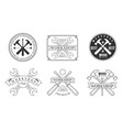 set black and white logos for workshop vector image vector image