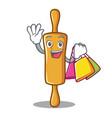 shopping rolling pin character cartoon vector image