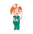 smiling girl in nurse uniform with syringe vector image vector image
