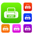 sports bag set collection vector image vector image