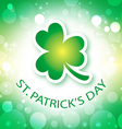 st patricks day card with shamrock 2 vector image vector image