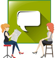 Two women with speech bubble vector image vector image
