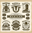 vintage western labels and badges set vector image