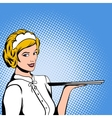 Waitress comics woman vector image