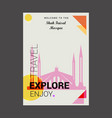 welcome to the shah faisal mosque islamabad vector image vector image