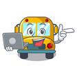 with laptop school bus character cartoon vector image