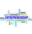 word cloud entrepreneurship vector image vector image