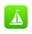 yacht icon digital green vector image