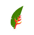 leaf of palm tree with red flower cartoon vector image