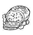 meat doodle vector image