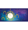 New Year background with clock and horseshoes vector image