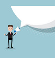 businessman with megaphone and blank speech bubble vector image