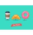 funny cartoon Funny coffee croissant vector image