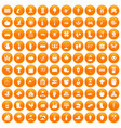 100 farm icons set orange
