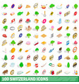 100 switzerland icons set isometric 3d style vector image vector image