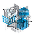 abstract design with 3d linear mesh shapes and vector image vector image