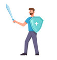 bearded man with medical shield and sword isolated vector image
