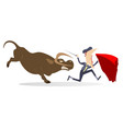 bullfighter and angry bull isolated vector image