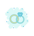 cartoon engagement ring with diamond icon in vector image