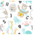 childish seamless pattern with hand drawn animals vector image