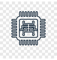 chip concept linear icon isolated on transparent vector image