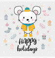 christmas card with cute little mouse funny vector image vector image