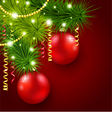 Christmas tree decorated with red balls vector image vector image