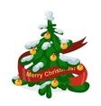 Christmas tree flat 3d isometric pixel art icon vector image