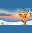 christmas winter landscape background with funny vector image vector image