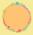 colorful flower wreath circle frame vector image