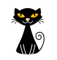 Cute halloween black Cat isolated on white vector image vector image
