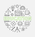 education round in thin line vector image vector image