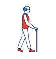 elderly man walking with cane cartoon vector image vector image