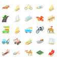 fast driving icons set cartoon style vector image vector image