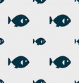 fish icon sign Seamless pattern with geometric vector image vector image