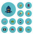 flat icons suv kerosene location and other vector image vector image