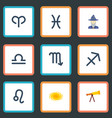 flat icons zodiac sign optics ram and other vector image vector image
