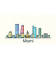 flat line miami banner vector image vector image