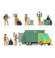 garbage man collecting city rubbish and waste for vector image
