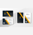 geometric yellow modern business card template vector image vector image