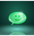 Glossy speech bubble icon with smile vector image vector image