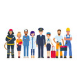 group people different professions vector image