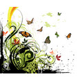 grunge floral background and butterflies vector image vector image