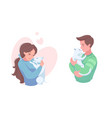 happy pet owners with puppy and kitten vector image vector image