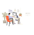home office concept with a man vector image