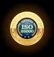 iso 26000 standard medal - social responsibility vector image vector image