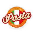 italian pasta label with flag vector image