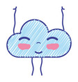 kawaii nice happy cloud with arms vector image vector image