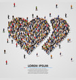 large group of people in the double hearts shape vector image vector image